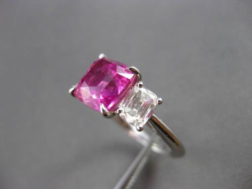 ANTIQUE 5.35CT DIAMOND & AAA PINK SAPPHIRE PLATINUM 3 STONE ENGAGEMENT RING