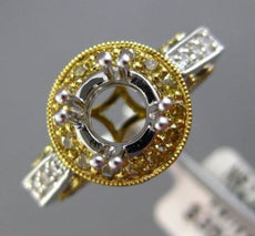 ESTATE .42CT WHITE & YELLOW DIAMOND 18K TWO TONE GOLD SEMI MOUNT ENGAGEMENT RING