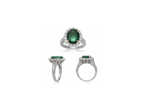 LARGE GIA CERTIFIED 6.3CT DIAMOND & AAA EMERALD 18K 2 TONE GOLD ENGAGEMENT RING