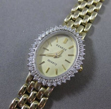 ESTATE .40CT DIAMOND 14KT WHITE & YELLOW GOLD OVAL GENEVE QUARTZ WATCH #19133