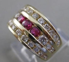 ESTATE WIDE 1.90CTW DIAMOND RUBY 14K GOLD CHANNEL BAND COCKTAIL RING 10MM #21571