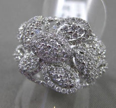 ANTIQUE WIDE 2.35CT DIAMOND 18KT WHITE GOLD 3D CLUSTER PAVE FLOWER COCKTAIL RING
