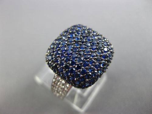 ESTATE LARGE 2.82CT DIAMOND & AAA SAPPHIRE 18KT WHITE GOLD 3D SQUARE PAVE RING