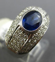 ESTATE WIDE 3.15CT DIAMOND & SAPPHIRE 14KT WHITE GOLD OVAL BEZEL ENGAGEMENT RING