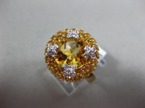 4.42CT DIAMOND & AAA EXTRA FACET CITRINE 14KT YELLOW GOLD FLOWER BUTTERFLY RING