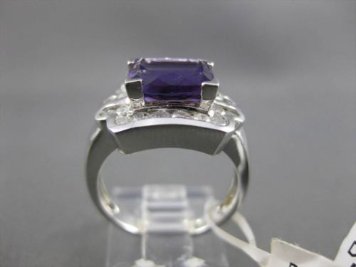 ESTATE WIDE 3.30CTW DIAMOND & AAA AMETHYST 14KT WHITE GOLD EMERALD CUT HALO RING