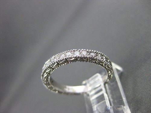 ANTIQUE .52CT DIAMOND 14KT WHITE GOLD FILIGREE MILGRAIN ANNIVERSARY RING #18887