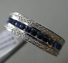 ESTATE LARGE 1.62CT DIAMOND & SAPPHIRE 14KT WHITE GOLD 3 ROW FILIGREE MENS RING
