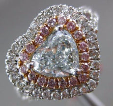 ESTATE LARGE 1.73CT MULTI COLOR DIAMOND 18KT WHITE & ROSE GOLD ENGAGEMENT RING