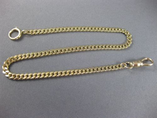 "ANTIQUE 14KT YELLOW GOLD 3D HANDCRAFTED SOLID POCKET WATCH CHAIN 10.5"" #26023"