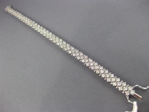 ESTATE WIDE 4.34CT DIAMOND 14KT WHITE GOLD 3D MULTI ROW CLASSIC TENNIS BRACELET