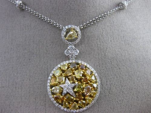 LARGE 4.33CT WHITE & YELLOW DIAMOND 18K TWO TONE GOLD ROUND BY THE YARD NECKLACE