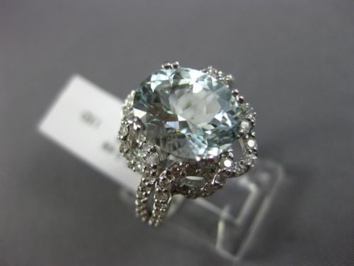 LARGE 4.05CT DIAMOND & AAA OVAL AQUAMARINE 14K WHITE GOLD FLOWER ENGAGEMENT RING