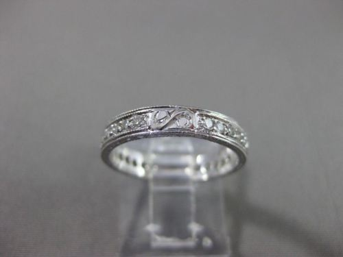 ANTIQUE .30CT DIAMOND 14KT WHITE GOLD FILIGREE ETERNITY 3 DIMENSIONAL RING #1150