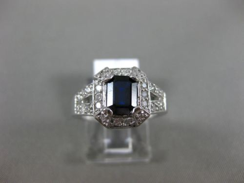 1.30CT DIAMOND & AAA SAPPHIRE 14KT WHITE GOLD 3D HALO FILIGREE ENGAGEMENT RING