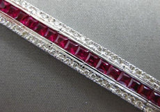 ESTATE WIDE 9.96CT DIAMOND & AAA RUBY 18KT WHITE GOLD 3D CHANNEL TENNIS BRACELET