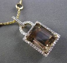 ESTATE LARGE 5.25CT DIAMOND & AAA SMOKEY TOPAZ 14KT WHITE & YELLOW GOLD NECKLACE