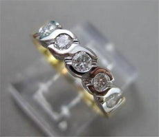 ESTATE .25CT DIAMOND 14KT WHITE & YELLOW GOLD S DESIGN ANNIVERSARY RING #11875