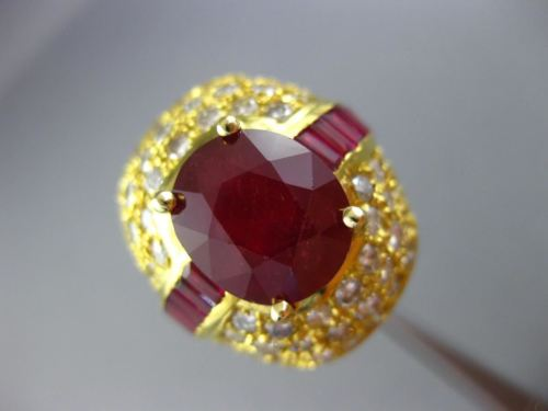 EXTRA LARGE 12CT ROUND DIAMOND & AAA OVAL RUBY 14KT YELLOW GOLD 3D COCKTAIL RING