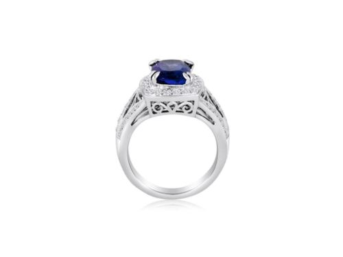 LARGE 4.6CT DIAMOND & AAA TANZANITE 14K WHITE GOLD FILIGREE HALO ENGAGEMENT RING