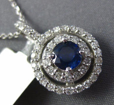 ESTATE .96CT DIAMOND & AAA SAPPHIRE 14KT WHITE GOLD DOUBLE HALO FLOATING PENDANT