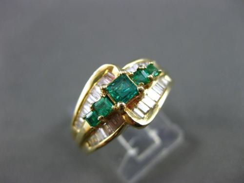ESTATE 1.10CT DIAMOND & EMERALD 14K YELLOW GOLD GRADUATING ENGAGEMENT RING 12115