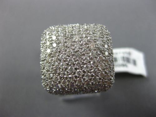 ESTATE LARGE 2.53CT DIAMOND 18KT WHITE GOLD CLUSTER SQUARE MICRO PAVE FUN RING
