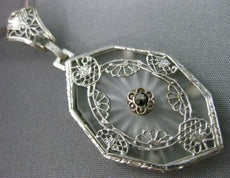 ANTIQUE LARGE WHITE QUARTZ 14KT WHITE GOLD 3D VICTORIAN FILIGREE PENDANT #19784
