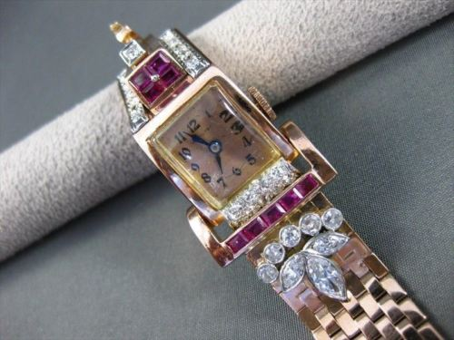 ANTIQUE 2.75CT DIAMOND & AAA RUBY 14KT WHITE & ROSE GOLD HAMILTON WATCH #22361