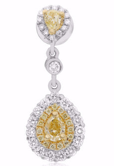 1.77CT WHITE & FANCY YELLOW DIAMOND 18KT 2 TONE GOLD PEAR SHAPE HANGING EARRINGS