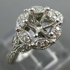 WIDE .52CT DIAMOND 14KT WHITE GOLD 3D FLOWER FILIGREE SEMI MOUNT ENGAGEMENT RING