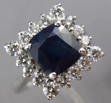ESTATE 3CT DIAMOND & AAA SAPPHIRE 18KT WHITE GOLD SQUARE CUSHION ENGAGEMENT RING