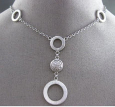 ESTATE .16CT DIAMOND 14KT WHITE GOLD CIRCULAR CLUSTER OPEN BY THE YARD NECKLACE