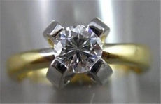 ESTATE .52CT DIAMOND 14KT W&Y GOLD SOLITAIRE FLORAL ENGAGEMENT RING #11348