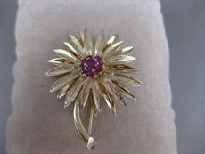 ANTIQUE LARGE .70CT AAA RUBY 14KT YELLOW GOLD 3D FLOWER LEAF BROOCH PIN #20265