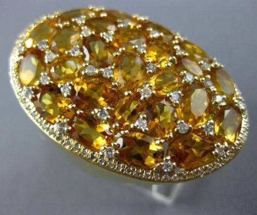 LARGE 10.28CT DIAMOND & AAA CITRINE 14K YELLOW GOLD ETOILE CLUSTER OVAL FUN RING