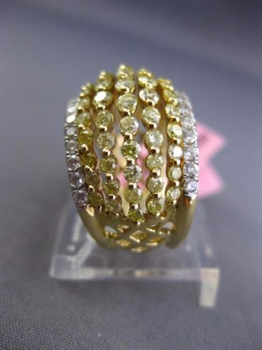 LARGE 3.12CT WHITE & FANCY YELLOW DIAMOND 18KT TWO TONE GOLD 3D ANNIVERSARY RING