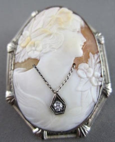 ANTIQUE LARGE .05CT DIAMOND FILIGREE LADY CAMEO 14K WHITE BROOCH & PENDANT #2096