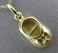 ESTATE 14KT YELLOW GOLD 3D BABY GIRL BOW SHOE CHARM FLOATING PENDANT #25220