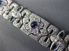 ESTATE WIDE & LONG 6.07CT DIAMOND & AAA SAPPHIRE 18KT WHITE GOLD TENNIS BRACELET