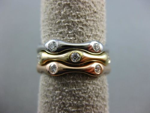ESTATE WIDE .54CT DIAMOND 14KT TRI COLOR GOLD 3D ETOILE ETERNITY STACKABLE RING