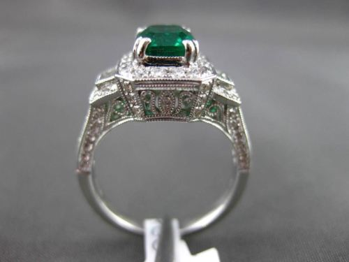 ANTIQUE 2.06CT DIAMOND & AAA EMERALD 18KT WHITE GOLD 3D FILIGREE ENGAGEMENT RING