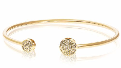 ESTATE .25CT DIAMOND 14KT YELLOW GOLD CLUSTER CIRCULAR FLEXIBLE BANGLE BRACELET