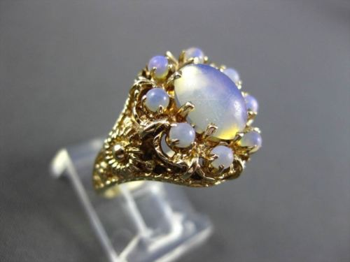 ANTIQUE LARGE AAA OPAL 14KT YELLOW GOLD FILIGREE CLUSTER FLOWER RING #23329