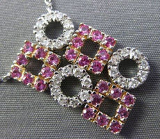 ESTATE 1.10CT DIAMOND & PINK SAPPHIRE 14K WHITE GOLD 3D SQUARE CIRCULAR NECKLACE