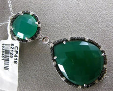 ESTATE LARGE 22.15CT WHITE & BLACK DIAMOND & GREEN AGATE 14KT WHITE GOLD PENDANT