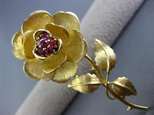 ANTIQUE LARGE .50CT RUBY 14KT YELLOW GOLD 3D FLOWER ROSE LOVE PIN BROOCH #25600