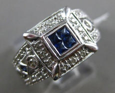 ESTATE WIDE .56CT DIAMOND & AAA SAPPHIRE 14KT WHITE GOLD SQUARE ENGAGEMENT RING