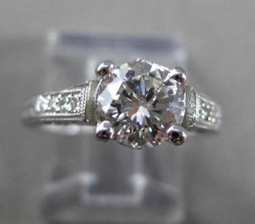 ANTIQUE .93CT DIAMOND 18K WHITE GOLD 3D SOLITAIRE FILIGREE ENGAGEMENT RING 23770