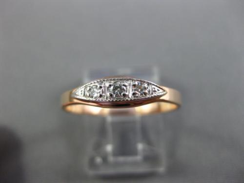 ANTIQUE .08CT OLD MINE DIAMOND 14KT WHITE & ROSE GOLD 3D ANNIVERSARY RING 29231